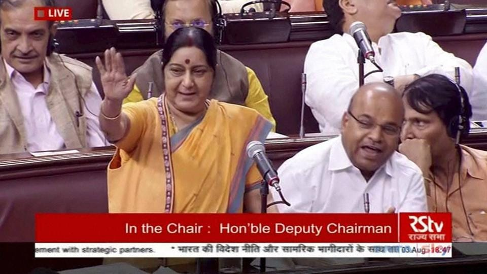 External affairs minister Sushma Swaraj speaks in the Rajya Sabha during the ongoing monsoon session of Parliament in New Delhi on Thursday.