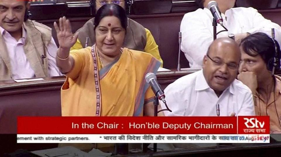 External affairs minister Sushma Swaraj speaks in the Rajya Sabha during the ongoing monsoon session of Parliament, in New Delhi.