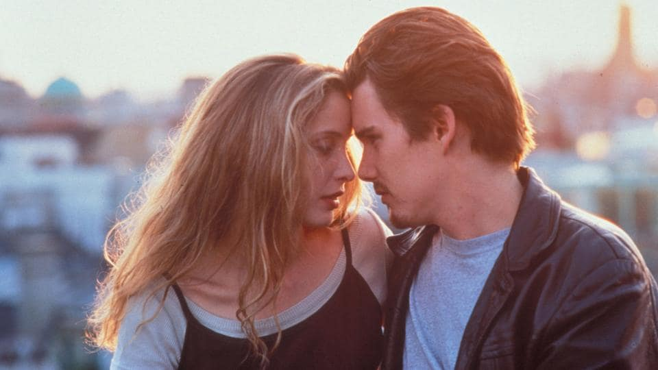 Ethan Hawke and Julie Delpy in a still from Before Sunrise.