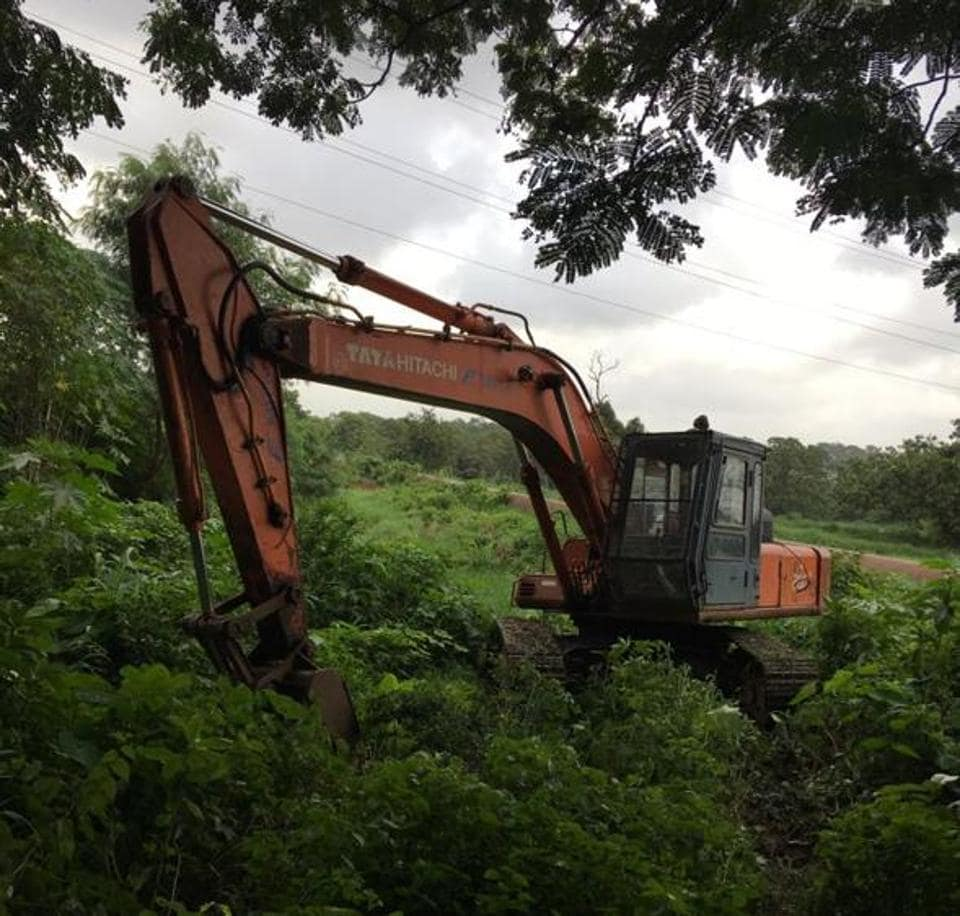 Construction work on at Aarey Colony for Metro-3.