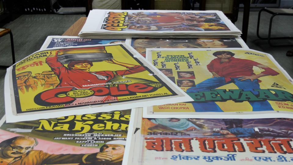 The collection includes 90 Amitabh Bachchan film posters.