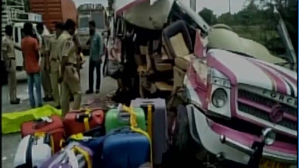 Five persons were killed and nine injured in an accident in Chittoor district of Andhra Pradesh on Saturday. (ANI Twitter)