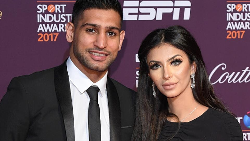 British boxers Amir Khan (left) and Anthony Joshuaare fighting, not in the boxing ring but on Twitter -- the issue revolving around Khan's wife Faryal Makhdoom (right).