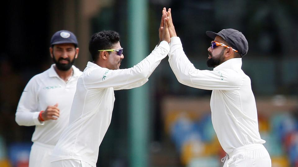 However, Sri Lanka kept losing wickets at regular intervals. Ravindra Jadeja picked up two wickets to become the second fastest Indian to reach 150 Test scalps. (REUTERS)