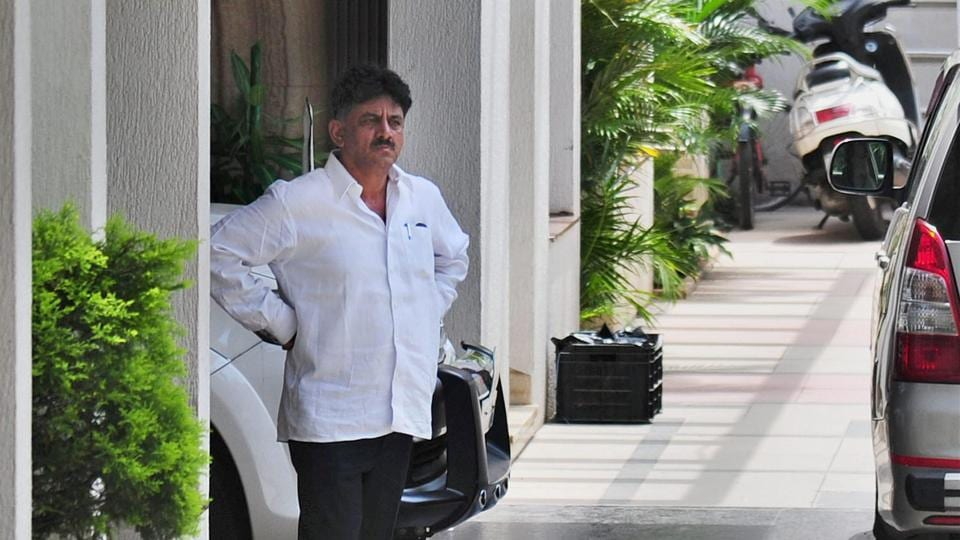 Karnataka energy minister DK Shivakumar at his residence in Bengaluru.The Income Tax Department conducted searches at multiple properties linked to Shivakumar in connection with a tax evasion case.