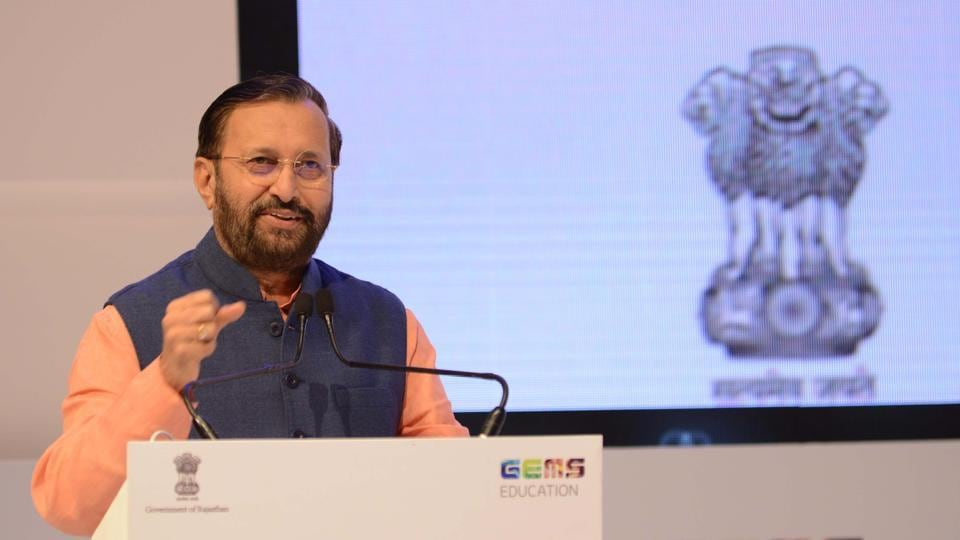 Union HRD minister Prakash Javadekar speaks during the Festival of Education in Jaipur on Saturday.