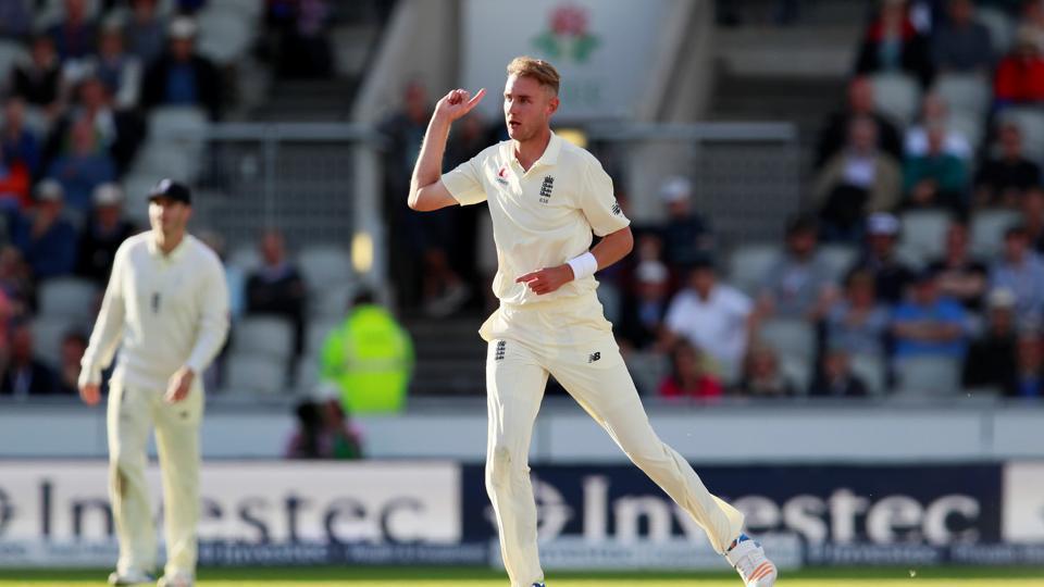 England's Stuart Broad celebrates taking the wicket of South Africa's Kagiso Rabada.
