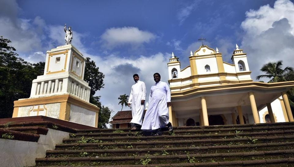Last month Goa was jolted by a spate of desecration of crosses, causing grief and alarm to the Catholic community in the state. 'The method of destruction was the same everywhere – the base of the cross was broken by hitting it with some heavy implement,'says Father Savio Fernandes, executive secretary of the Council for Social Justice and Peace, which has been engaged in fact-finding studies into the desecrations.  (Ajay Aggarwal/HT PHOTO)