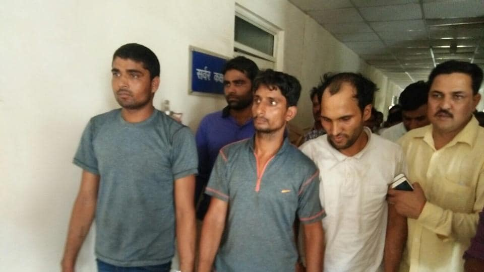 The police identified the accused as Rahul Kumar, 27 and Anoop, 30, residents of Mathura and Munish, 28, of Tappal in Aligarh.