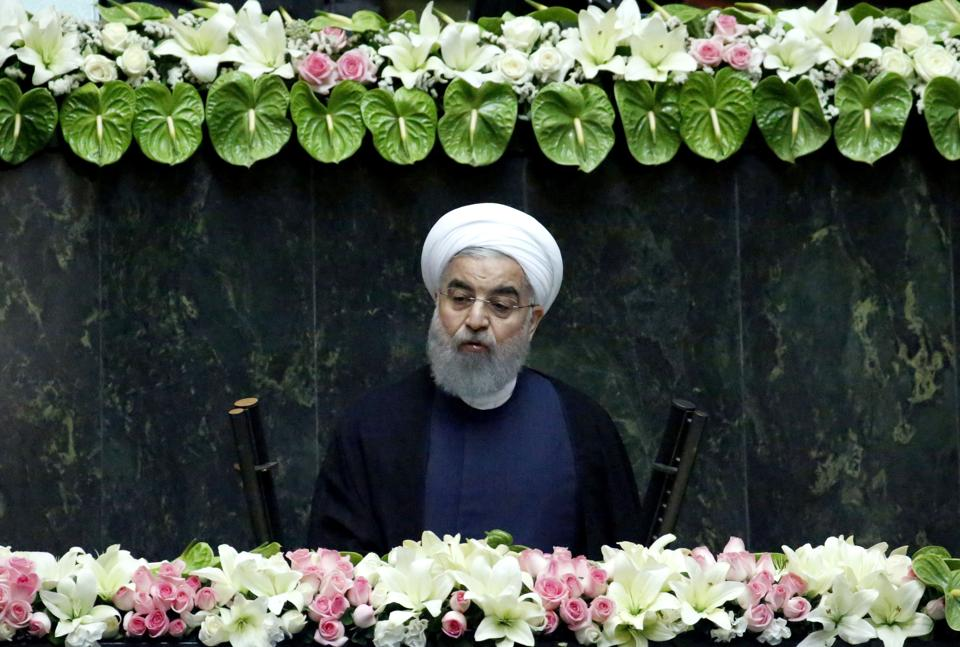 Iran's President Hassan Rouhani delivers a speech before Parliament in Tehran after being sworn in for a second term  on August 5, 2017.