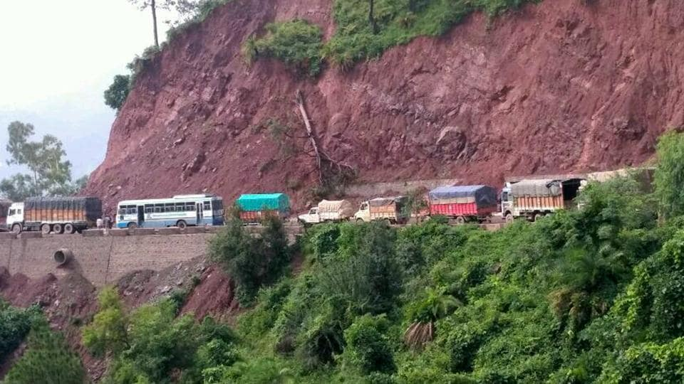 Vehicles in a jam due to landslide on the Kalka-Shimla highway in Solan district on Saturday, August 5.