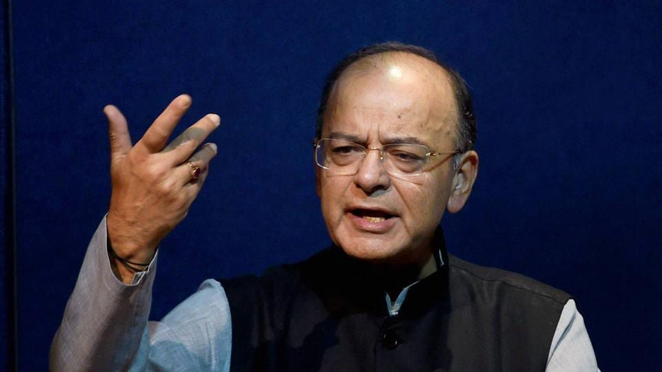 Finance minister Arun Jaitley speaks at a book launch in New Delhi. Jaitley has said the sale of public sector bank stocks through the ETF is not inconsistent with the government's policy of banking sector consolidation.