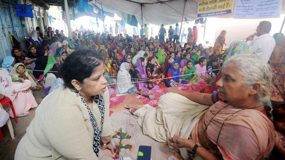 Narmada Bachao Andolan leader Medha Patkar during her indefinite fast in MP.