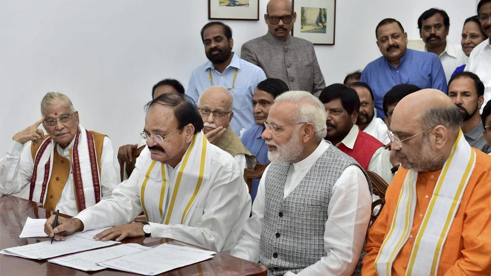 NDA's vice-presidential candidate Venkaiah Naidu with Prime Minister Narendra Modi, BJP president Amit Shah and other leaders files his nomination papers at Parliament in New Delhi.