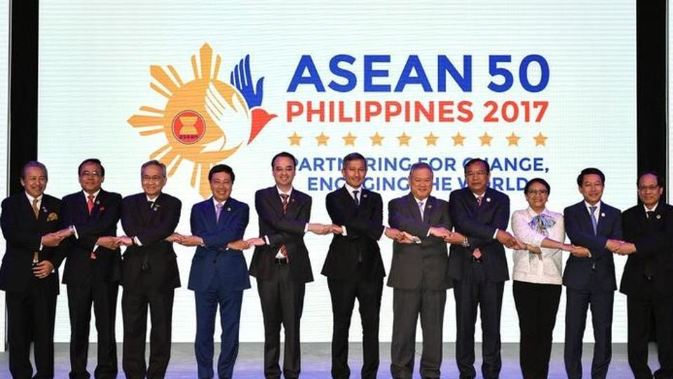 A family photo during the opening ceremony of the 50th Association of Southeast Asian Nations (ASEAN) Regional Forum meeting in Manila on Saturday.