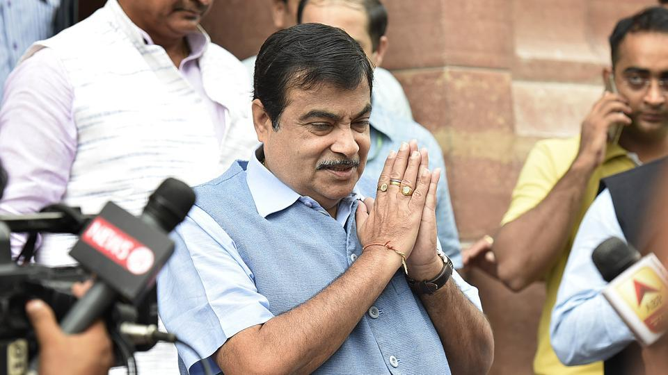 Nitin Gadkari seen during the ongoing Parliament session in New Delhi in July.