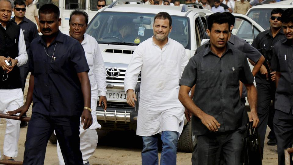 Congress Vice President Rahul Gandhi arrives to visit the flood affected areas of Runi village in Banaskantha district on Friday.