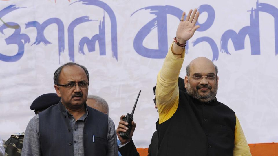 BJP president Amit Shah and party leader Siddharth Nath Singh during an election rally.