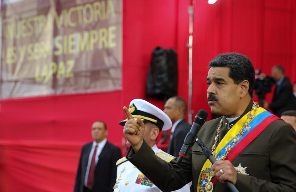 Venezuela's President Nicolas Maduro addresses a military parade to celebrate the 80th anniversary of the Venezuela's National Guard in capital Caracas on August 4, 2017.