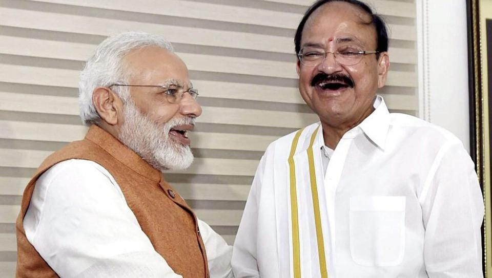 Prime Minister Narendra Modi greets vice president-elect Venkaiah Naidu at his residence in New Delhi on August 5, 2017.