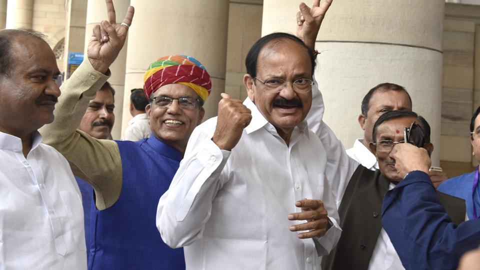 NDA vice president candidate M Venkaiah Naidu after casting his vote during the vice presidential Election, at Parliament House in New Delhi, India, on Saturday, August 5, 2017.