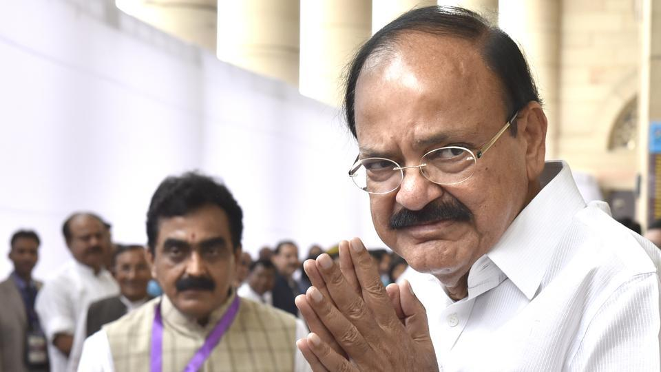 Vice President-elect M Venkaiah Naidu ahead of voting at Parliament House in New Delhi on Saturday.