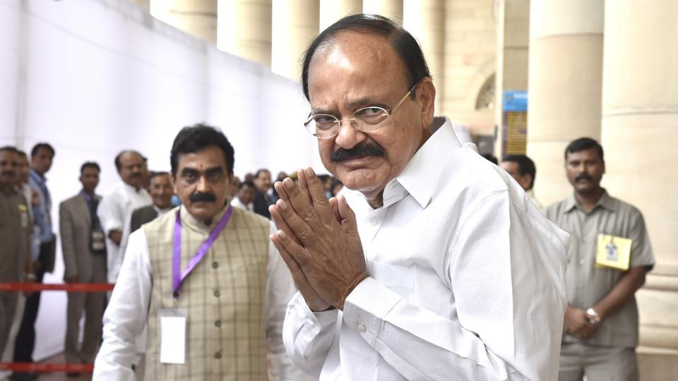 Vice president-elect M Venkaiah Naidu before the casting of vote in the election at Parliament House in New Delhi, on August 5, 2017.