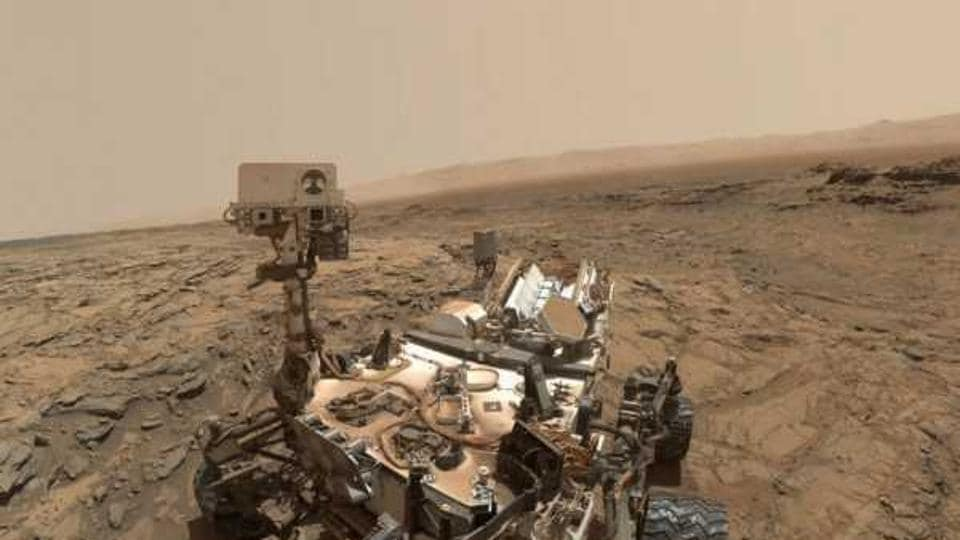 A selfie on Mars: Curiosity extended its robotic arm and used the camera on the arm's end to capture this self portrait on October 6, 2015. The image was taken at the Big Sky site, where its drill collected the mission's fifth taste of Mount Sharp.