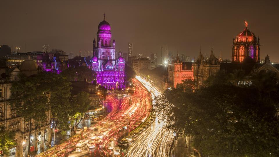 BMC building lit-up for completing 124 years and it is entering its 125th year on August 1, in Mumbai, India. The building, a listed Grade II A heritage structure, was constructed in the Gothic style and its designs were prepared by FW Stevens. The construction commenced on December 9, 1884 and was completed on July 31, 1893. (Kunal Patil/HT Photo)