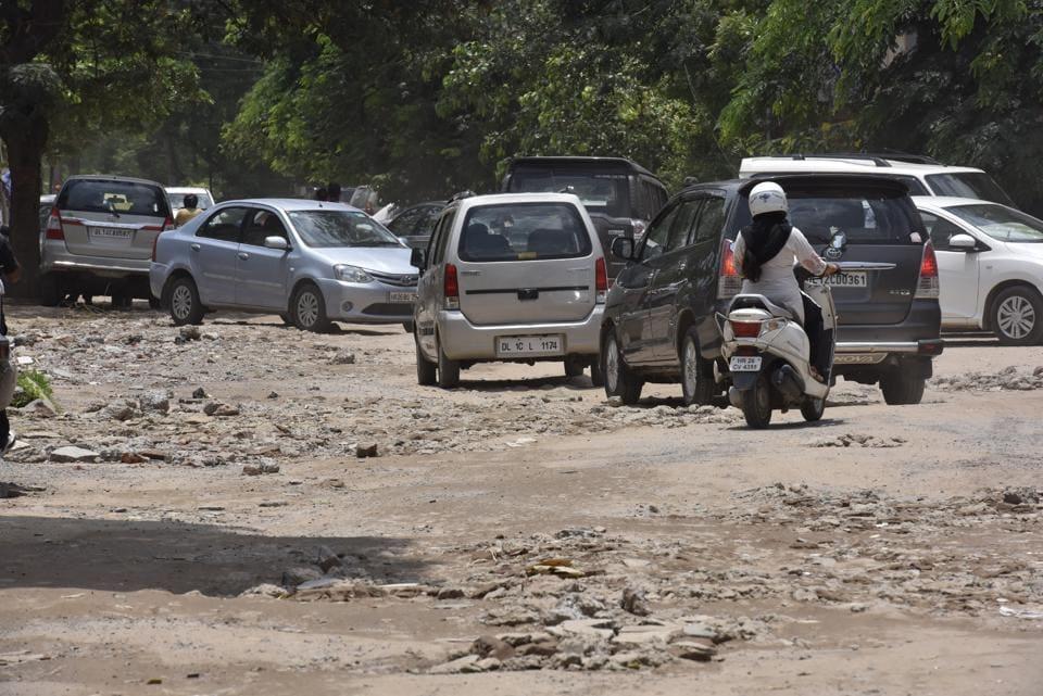 Broken roads are a concern across Gurgaon.