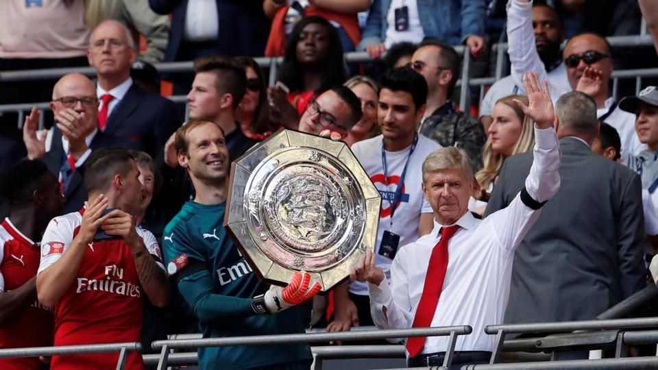 Arsenal celebrate after winning the FA Community Shield.
