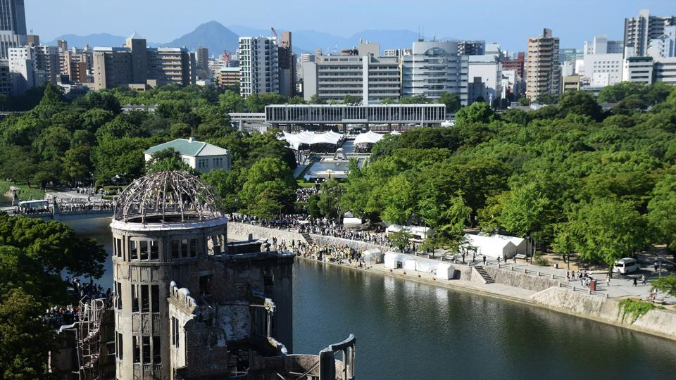 People attend the 72nd anniversary memorial service at the Hiroshima Atomic Bomb dome and Peace Memorial Park for the atomic bomb victims in Hiroshima on Sunday, August 6, 2017.