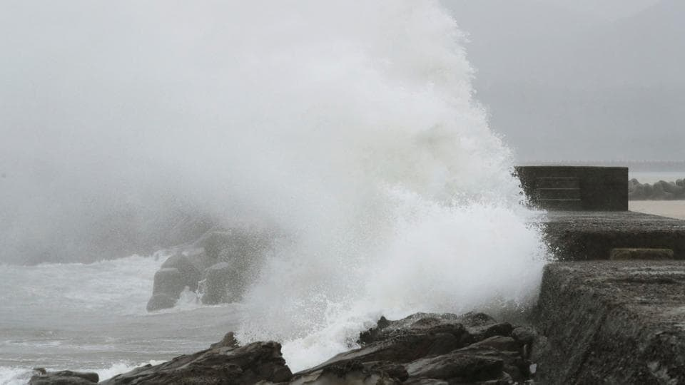 A wave, caused by Typhoon Noru, splashes the coast in Kushima, Miyazaki prefecture, Japan, August 6, 2017 in this photo taken by Kyodo.