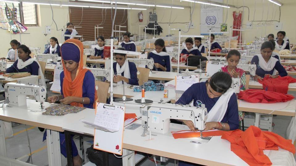 Students at a multi-skill development centre in Ludhiana.