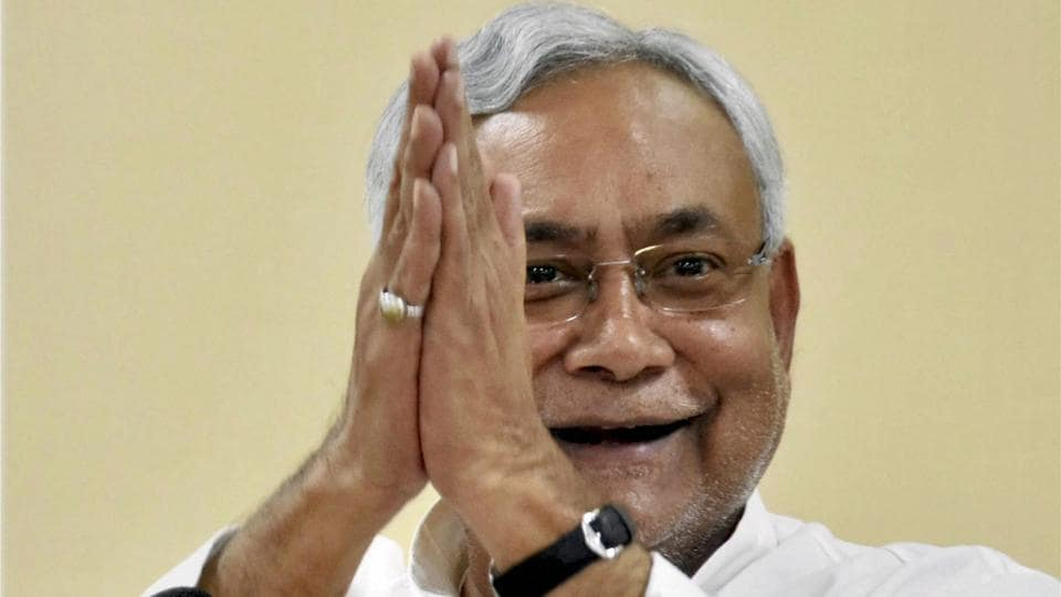 Bihar Chief Minister Nitish Kumar addressing a press conference in Patna. (PTI)