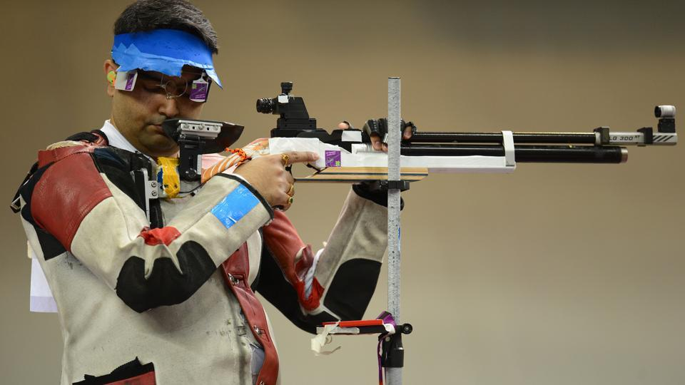 Bronze medallist Gagan Narang of India competes in the Men's 10m Air Rifle Shooting final on Day 3 of the London 2012 Olympic Games at The Royal Artillery Barracks in London, England. (Lars Baron / Getty Images)