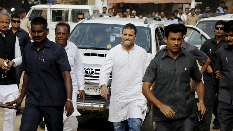 Congress vice president Rahul Gandhi arrives to visit the flood-affected areas in Banaskantha district of Gujarat on Friday.