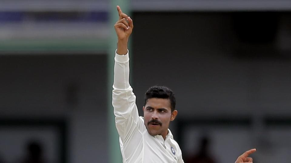 Indian cricket team's Ravindra Jadeja celebrates the dismissal of Sri Lanka national cricket team's Dimuth Karunaratne during the fourth day's play of the second Test in Colombo on Sunday.