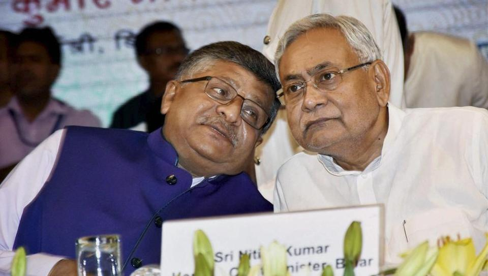 Bihar Chief Minister Nitish Kumar with Union Law Minister Ravi Shankar Prasad during the inauguration of Tele-Law, a portal available across the Common Service Centre (CSC) network which will connect the citizens to legal service providers, in Patna on Sunday.