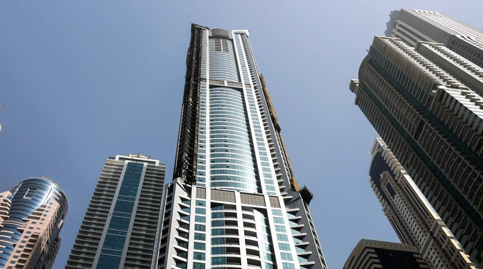 A view of The Torch, one of the tallest towers in Dubai, after a fire on Friday.