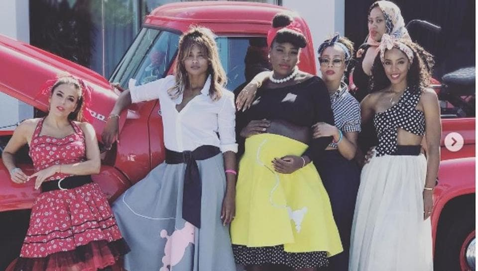 """Serena Williams posted a picture of herself with """"the crew"""", which included her friends and sister Venus Williams, during the special baby shower."""