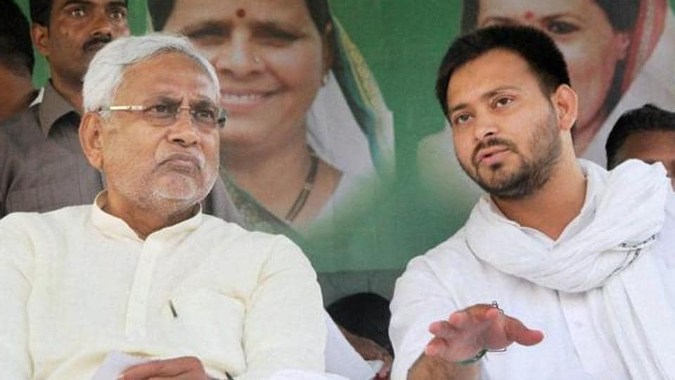 CM Nitish Kumar with his deputy Tejashwi Yadav when the grand alliance government was in office in Bihar