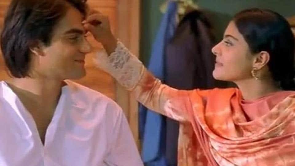 Arbaaz Khan and Kajol in a still from Pyaar Kiya To Darna Kiya.