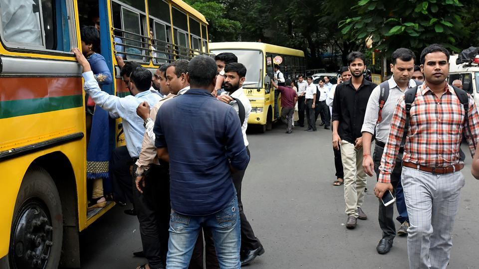 Private buses too pressed into service. (Kunal Patil/HT Photo)