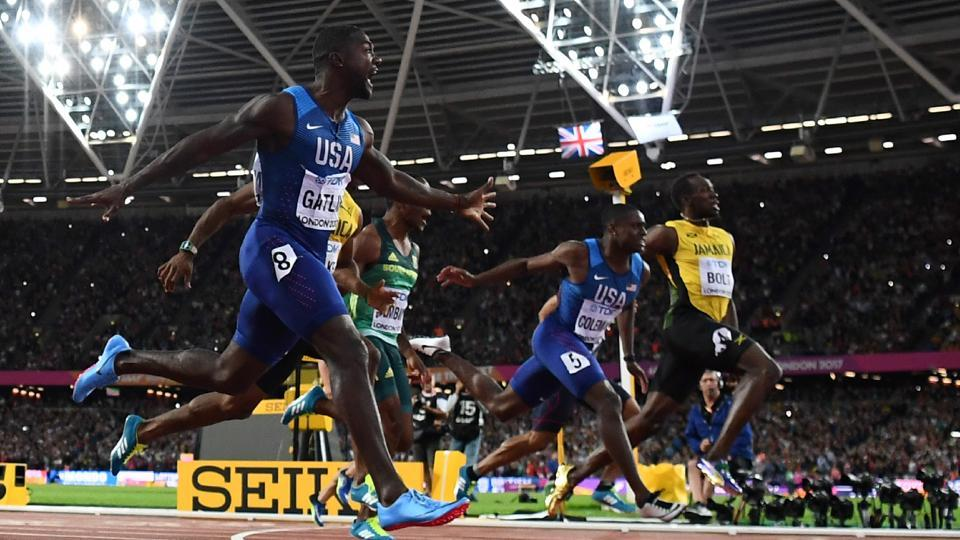 (L-R) Justin Gatlin wins the 100 m  final on Saturday night, edging out Christian Coleman and Usain Bolt at the IAAF World Championships of Athletics in London. (AFP)