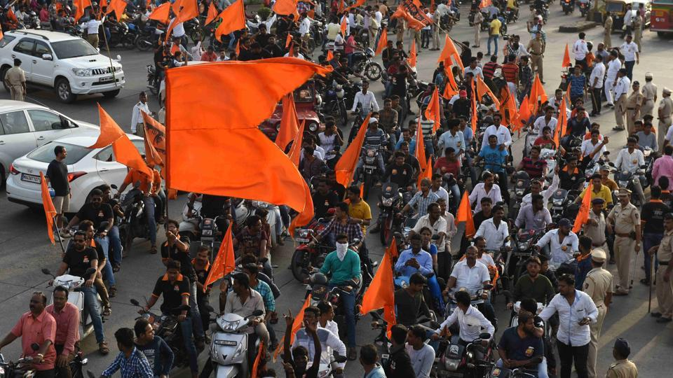 Marathas staged a bike rally from Kharghar to Vashi on Sunday.