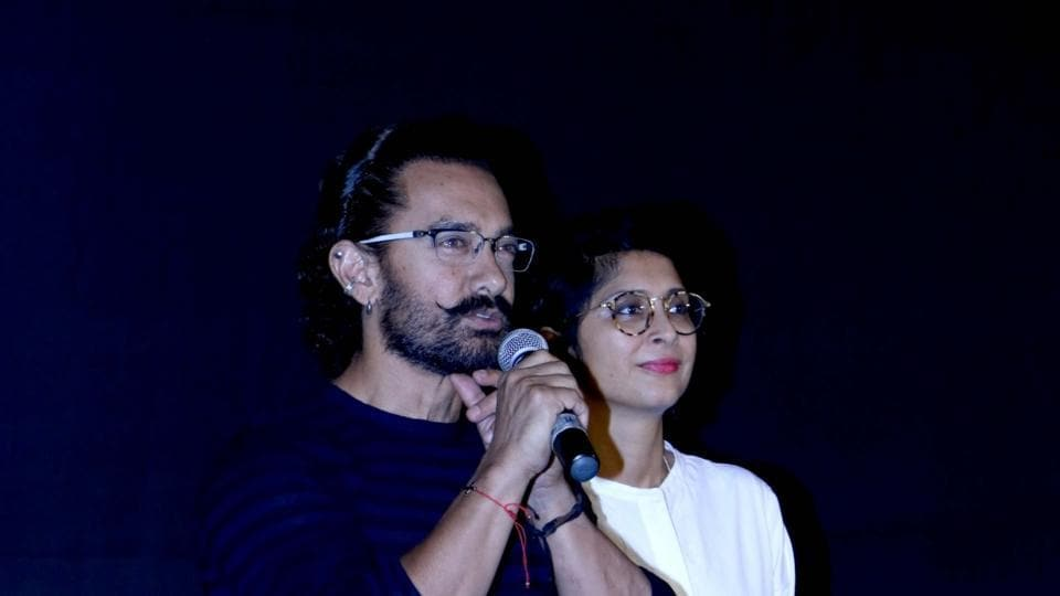 Aamir Khan along with his wife Kiran Rao during the trailer launch of Secret Superstar.