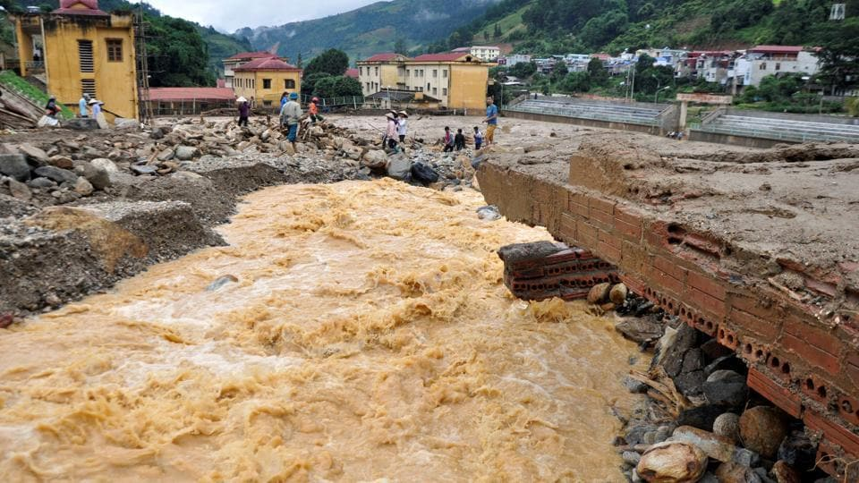 A bridge damaged by floods is seen in Mu Cang Chai district, in northern Yen Bai province, Vietnam. (REUTERS)