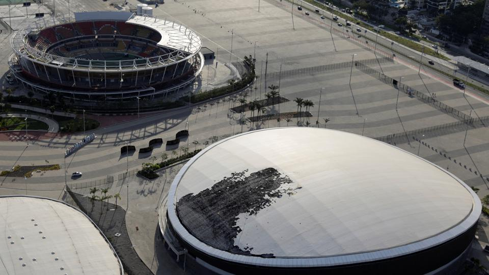The Velodrome which had its roof partially burnt after a fire at the Olympics park in  Rio de Janeiro, Brazil. (Ricardo Moraes/REUTERS)