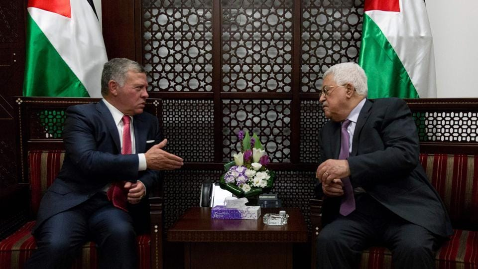 Jordan's King Abdullah II (left) meets Palestinian President Mahmud Abbas at his office in the West Bank city of Ramallah on August 7, 2017. Jordan's king began a rare visit to the occupied West Bank to meet with the Palestinain leader amid tensions with Israel over a flashpoint Jerusalem holy site.